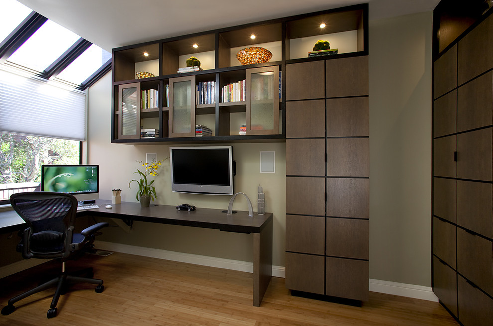 Trendy built-in desk medium tone wood floor home office photo in Dallas with green walls