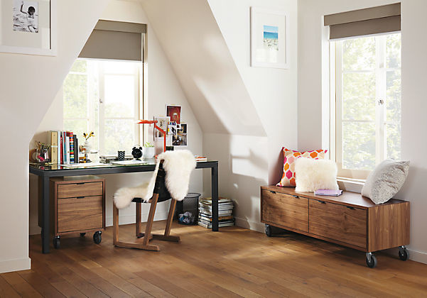 Office Nook with Parsons Desk & Walnut Storage by R&B contemporary ...