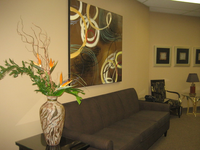 Office Reception Area Design Transitional Entry