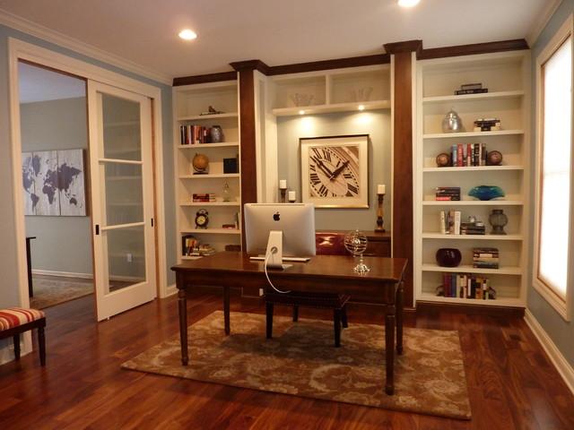 Bon Mid Sized Elegant Freestanding Desk Medium Tone Wood Floor Study Room Photo  In Minneapolis With