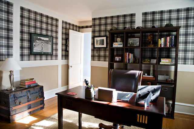 wallpaper for home office. Office Space With Plaid Wallpaper Traditional-home-office-and-library For Home 2