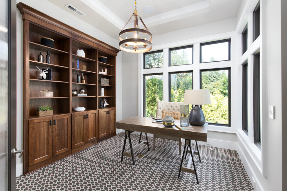 Inspiration for a transitional home office remodel in Portland