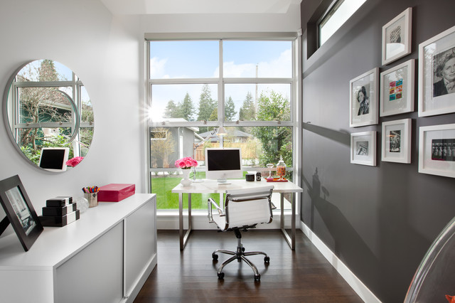 office with a view modern home office library vancouver by