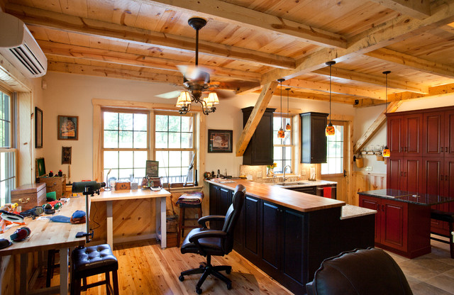 Oklahoma barn home cabin traditional home office for Home office cabins