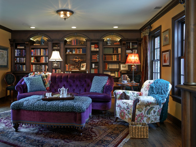 Old english library traditional home office portland for Traditional english home
