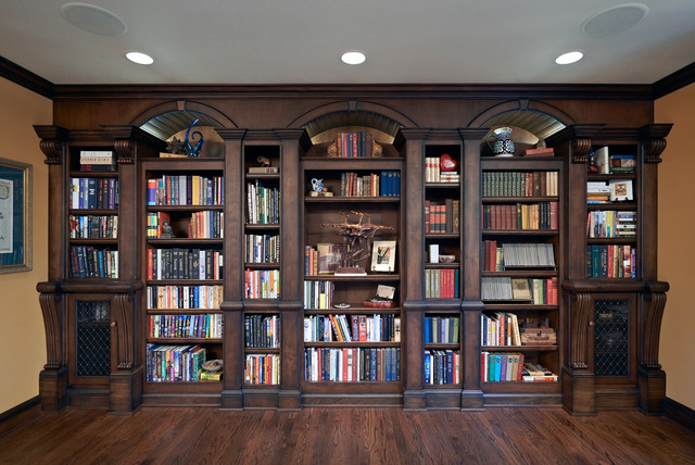 Old english library traditional home office portland for Kitchen library portland