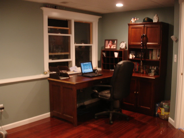 Old garage turned office laundry workshop contemporary for Garage home office
