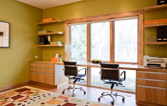 Organic modern modern home office minneapolis by streeter associates inc Shared home office design ideas