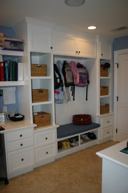 Our work built ins traditional home office orange for Mudroom office