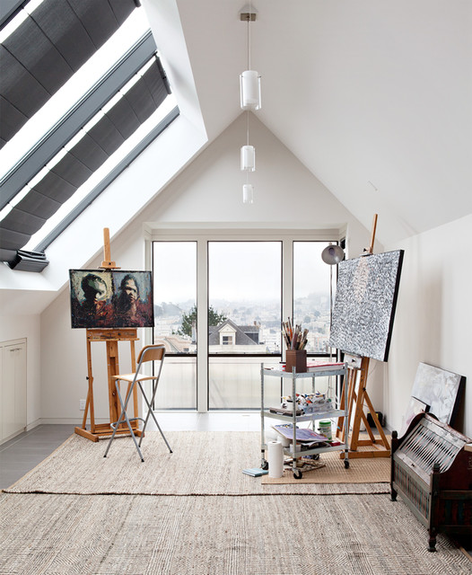 convert garage into a photography studio ideas - Pacific Ave Artist Studio contemporary home office