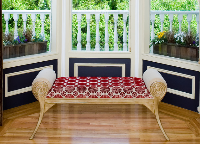 Pacific Heights Pop - Custom bench by Kimball Starr Interior Design traditional-living-room