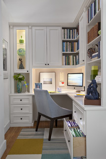 Small home office with lots of storage.