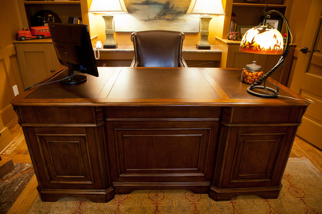 Paneled Executive Desk Eclectic Home Office And Library