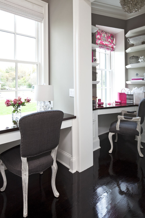 Gray Work Area with pink as accent