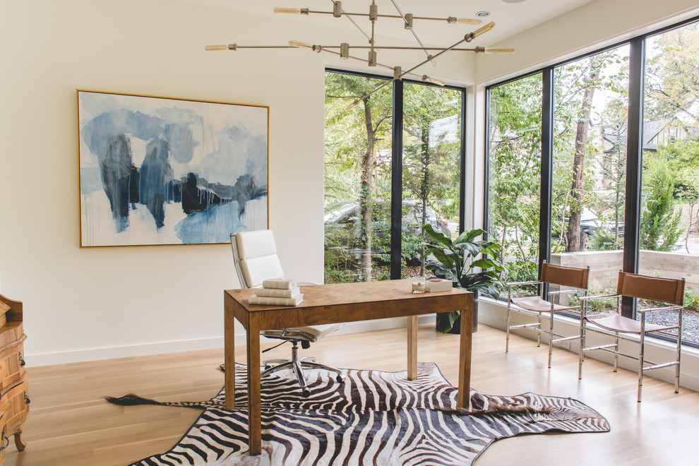 contemporary home office with zebra rug