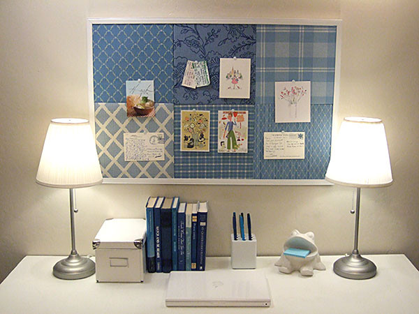 Patchwork pin board contemporary home office