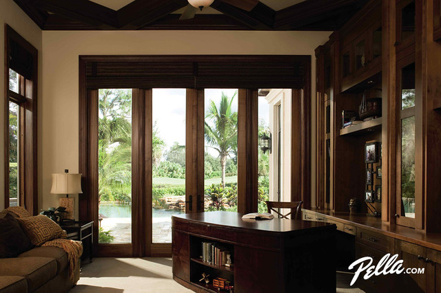 Pella® Architect Series® Hinged Patio Door With Side Lights  Transitional Home Office