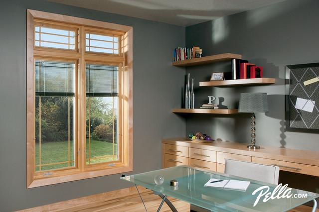 Pella designer series casement windows with between the for Best blinds for casement windows