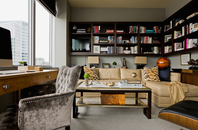 Penthouse Downtown Boston Transitional Home Office