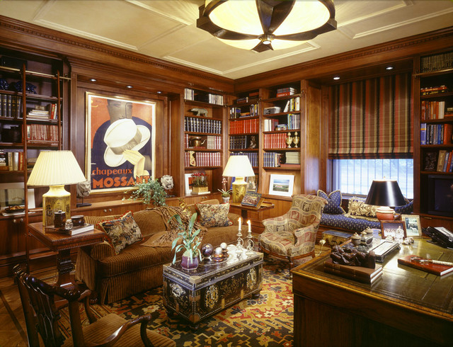 Example of a classic freestanding desk medium tone wood floor home office  design in New York