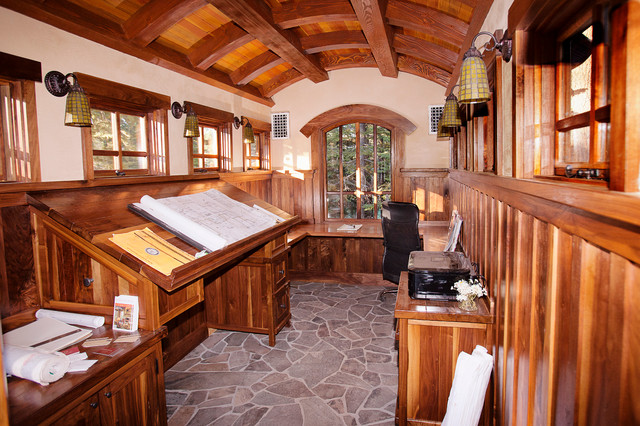 Attrayant Example Of An Arts And Crafts Built In Desk Home Office Design In Sacramento