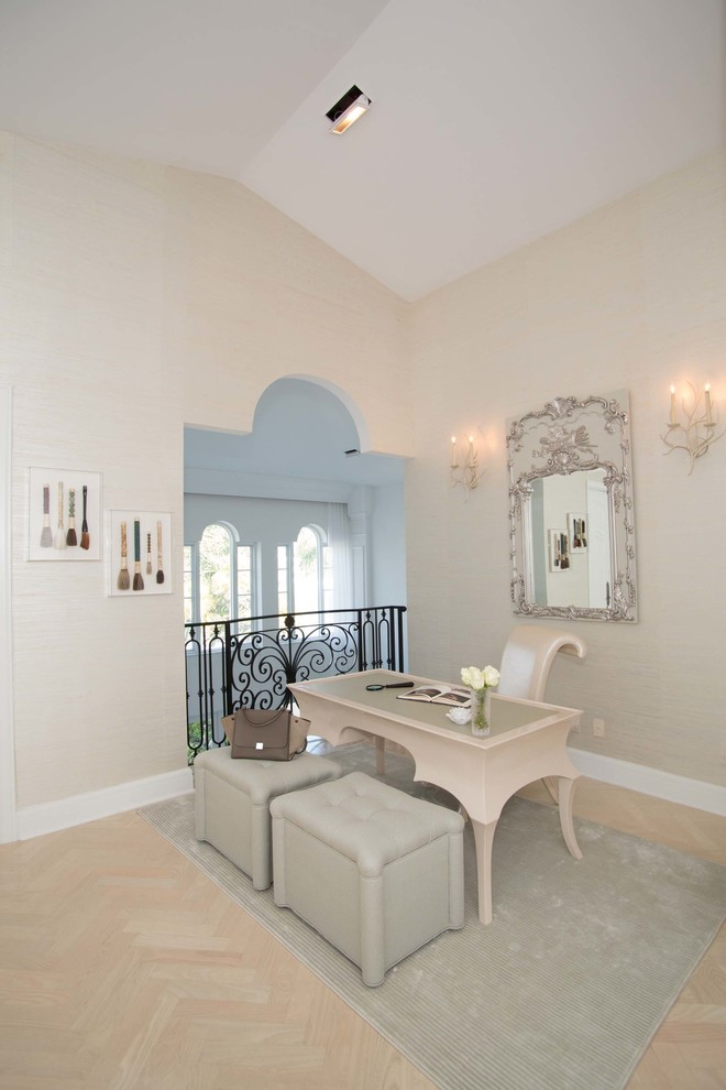 Home office - transitional beige floor home office idea in Miami with beige walls