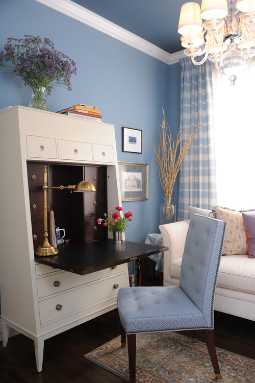 a traditional office with white furnishings and walls painted with benjamin moores marlboro blue by brian dittmar design inc calming office colors
