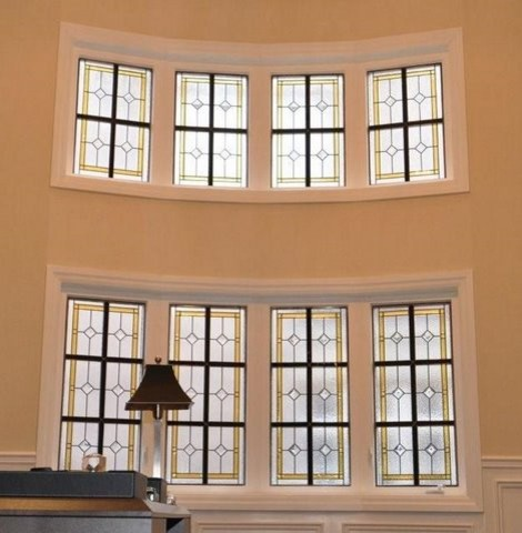Privacy Leaded Glass Windows. traditional home office