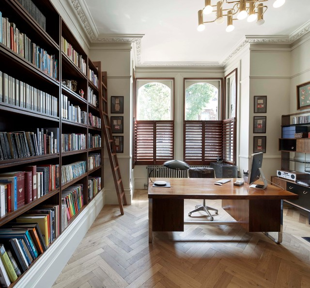 Merveilleux Transitional Freestanding Desk Medium Tone Wood Floor And Beige Floor Home  Office Photo In London With