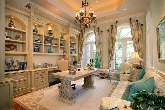 home office cabinetry design. Private Residence  Naples Florida mediterranean home office Mediterranean Home Office