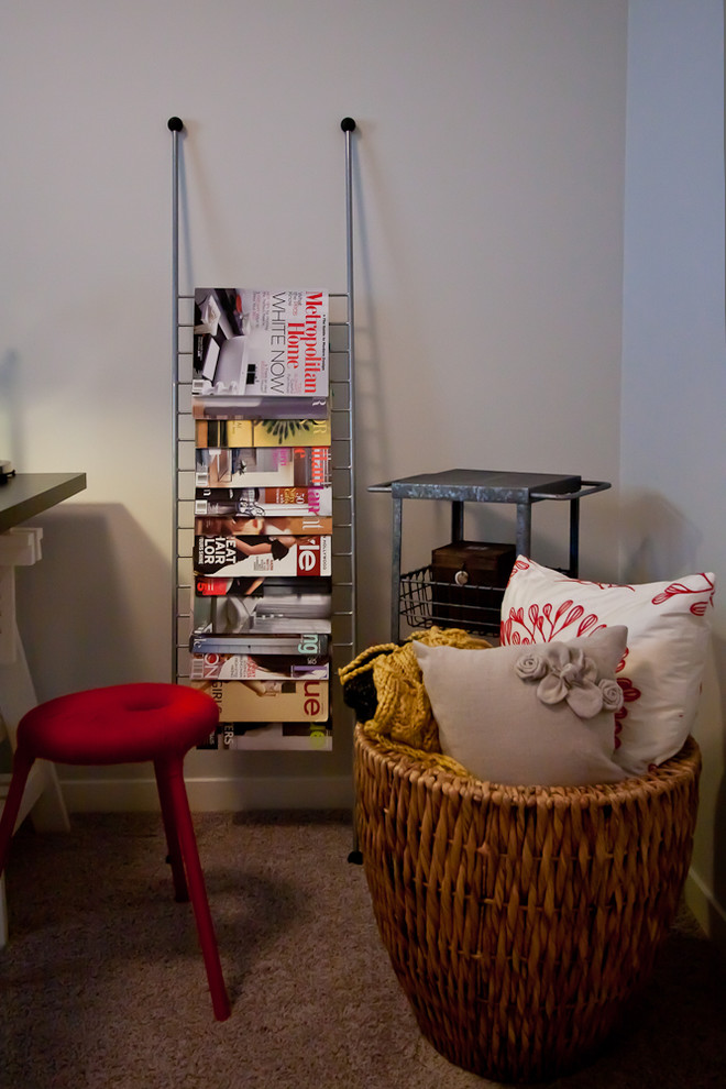 Example of a small classic freestanding desk craft room design in Calgary