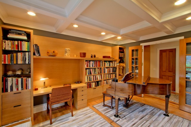 Quarter Sawn White Oak Desk Bookcase Wall And Coffered Ceiling Library Transitional Home