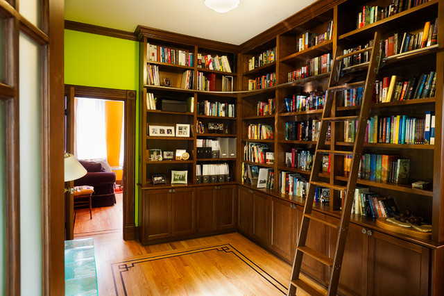 Queen Anne Craftsman Library - Craftsman - Home Office - Seattle
