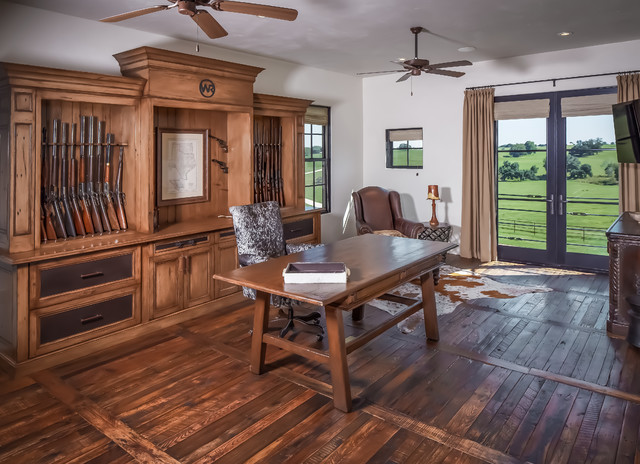 Ranch rustic home office houston by thompson for Custom home safes