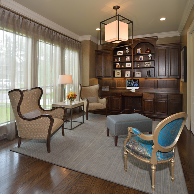 Reading Room Retreat Transitional Home Office Houston By Laura Manchee Designs