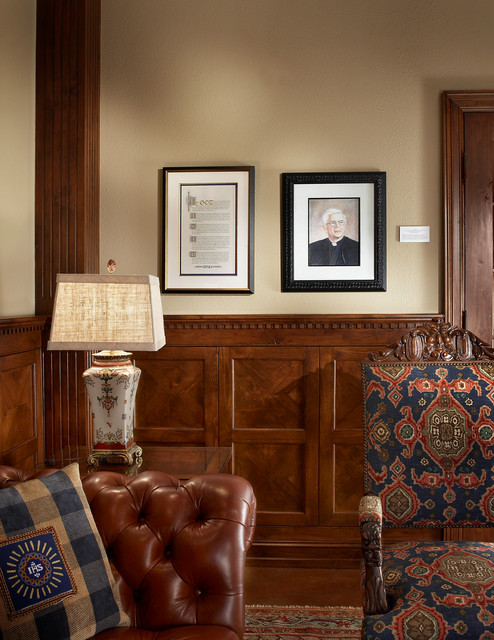 Reading Room Wood Paneling Traditional Home Office