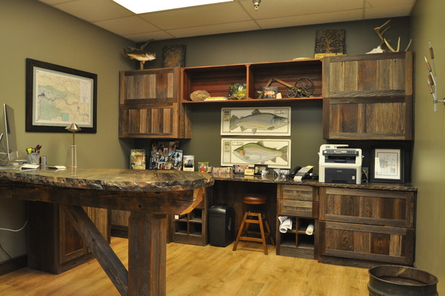 Reclaimed Barn Wood Office Rustic Home Office Library