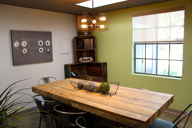 Reclaimed wood conference table and marais a chairs industrial home