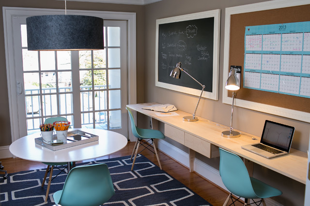 Superbe Home Office   Contemporary Home Office Idea In DC Metro With Beige Walls