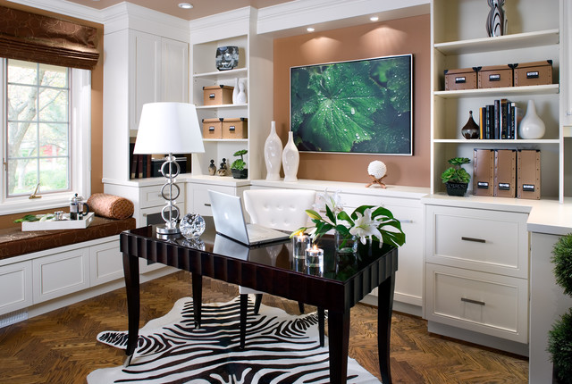 Inspiration For A Large Contemporary Freestanding Desk Dark Wood Floor And  Brown Floor Home Office Remodel