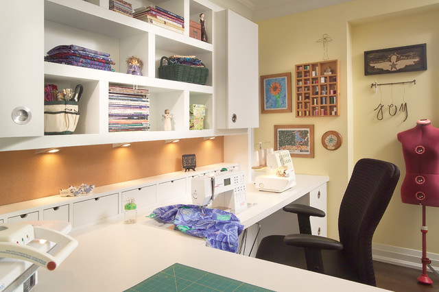 richmond hill project - sewing room contemporary-home-office-and-library