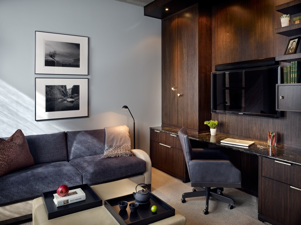 Home office - contemporary built-in desk home office idea in Denver