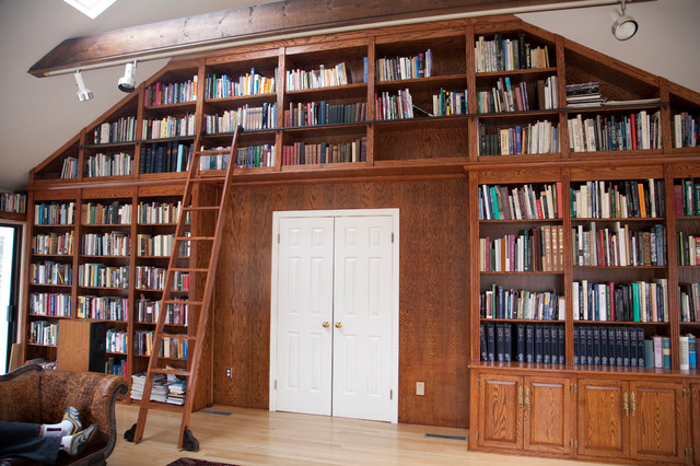 Rolling Library Ladder Traditional Home Office