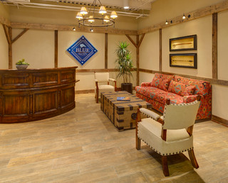 Conference Room and Reception Area - Rustic - Home Office - new york - by Beth Rosenfield Design LLC