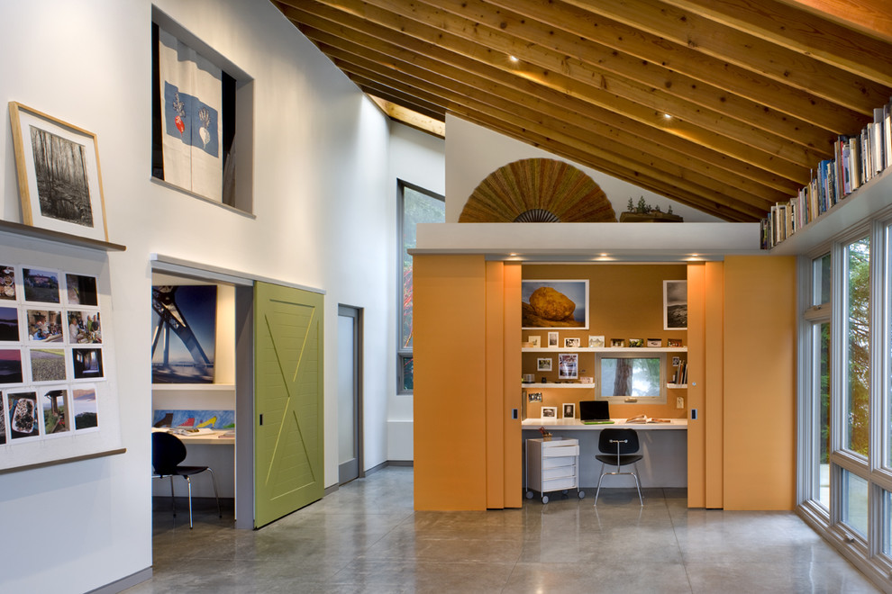 Home office - contemporary concrete floor and gray floor home office idea in San Francisco