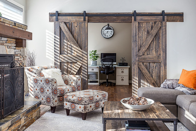 Home office - mid-sized rustic home office idea in Calgary