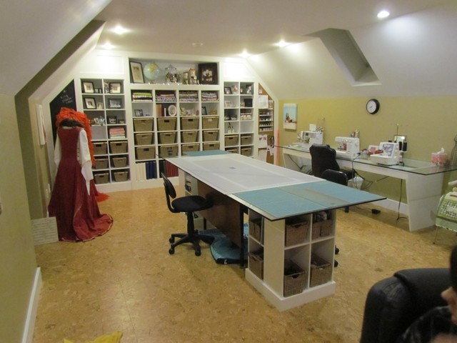 Sewing Area Cutting Table Sewing Storage Contemporary Home Office ...