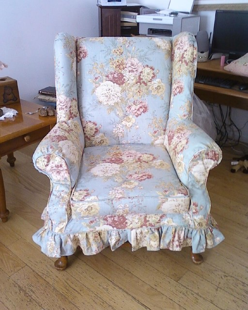 floral slipcovers for wingback chairs | Shabby Chic Floral Wingback - Traditional - Home Office ...
