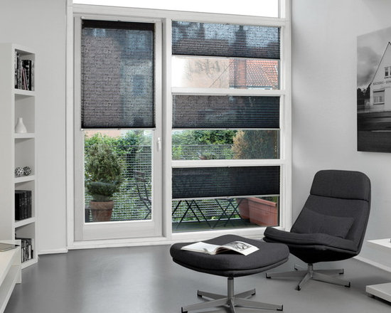 """German Shade Systems by Fenstermann LLC - Bottom Up - Top Down operation, chain operated up to 8 feet, perfect for patio doors and French doors, sheer, blackout, transparent or translucent. Over 500 fabrics, prints and design to choose from. Also called """"PLISSEE"""", these are made in Germany, exclusive to Fenstermann. We also offer Roman Shades, Panel Blinds, Cellular Shades, Wood Blinds, Roller Shades, Double Roller Shades, Natural Woven Shades, Exterior Shutters, and Custom Vertical Shades."""