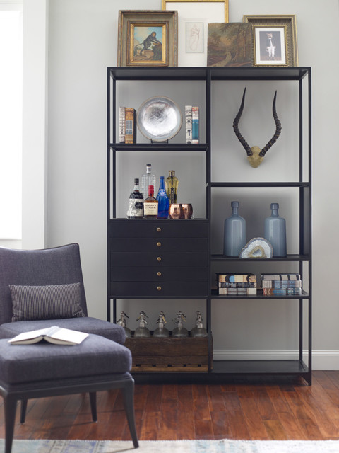 Shadow Box Industrial Black Metal Bookcase Home Office
